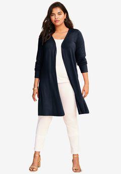 Fine Gauge Convertible Tie-Front Cardigan,
