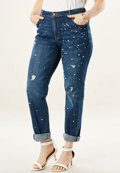 Pearl Embellished Boyfriend Jean by Denim 24/7®,