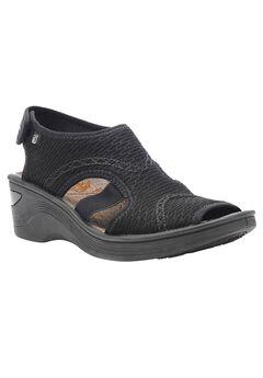 Dream Wedge Sandal by Bzees®, BLACK, hi-res