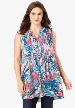 Sleeveless English Floral Big Shirt,