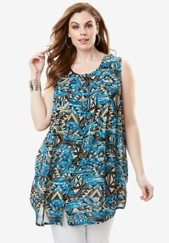 Sleeveless Angelina Tunic, BLUE BATIK PRINT, hi-res