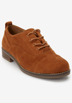 The Timea Oxford Flat by Comfortview®, COGNAC
