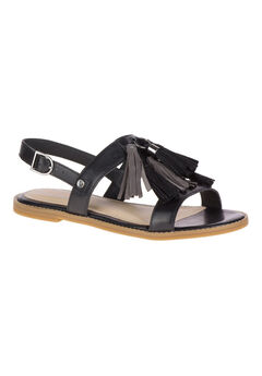 Chrissie Tassel Sandals by Hush Puppies®, BLACK LEATHER, hi-res