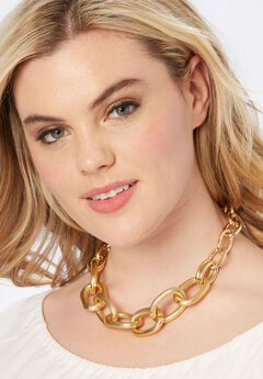 Chain Link Necklace, GOLD, hi-res