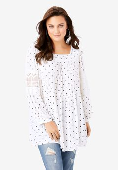 Square-Neck Crinkle Tunic,
