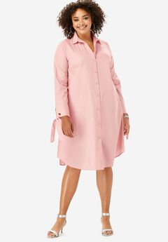 Tie-Sleeve Kate Shirtdress, SOFT BLUSH
