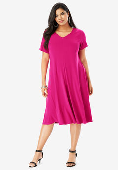 Swing Dress with Curved Hem, VIVID PINK