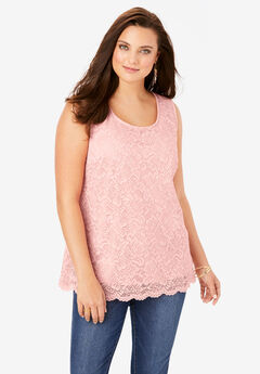Stretch-Lace Tank Top,