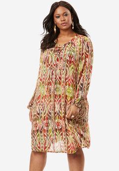 Lace Up Crinkle Dress, LEAF GREEN TRIBAL, hi-res