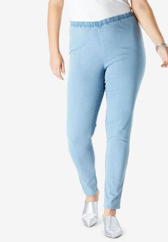 Straight Stretch Legging by Denim 24/7, LIGHT STONEWASH SANDED, hi-res