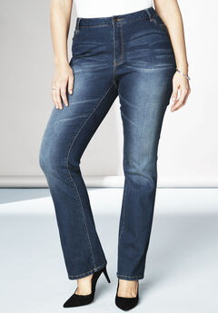 5-Pocket Bootcut Jeans with Invisible Stretch® by Denim 24/7®, STONEWASH SANDED, hi-res