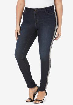 Side-Stripe Skinny Jean By Denim 24/7®, RHINESTONE