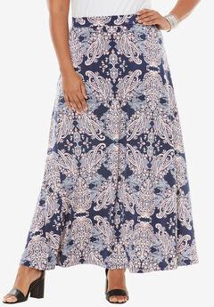 Knit Maxi Skirt, NAVY PAISLEY PRINT, hi-res