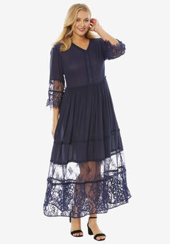 Rayon Crinkle Dress, NAVY, hi-res