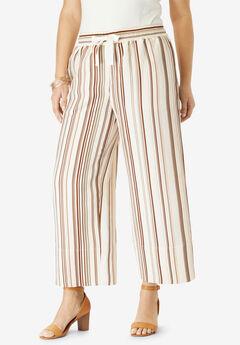 Linen Wide-Leg Crop Pant,