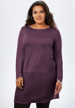 Sheer Hem Drape Super Tunic,
