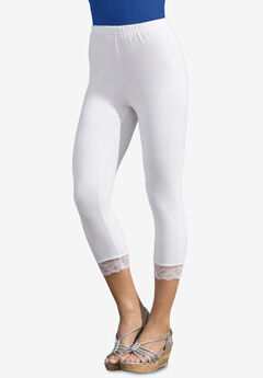 Lace-Trim Essential Stretch Capri Legging, WHITE