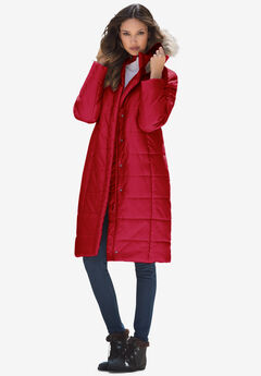 Mid-Length Puffer Jacket with Hood, CLASSIC RED