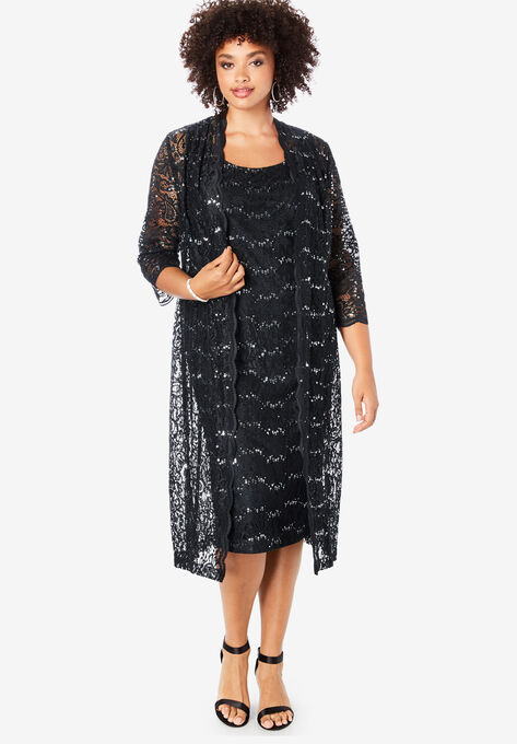 Lace & Sequin Jacket Dress Set| Plus Size Formal & Special Occasion ...