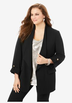 Draped Blazer, BLACK