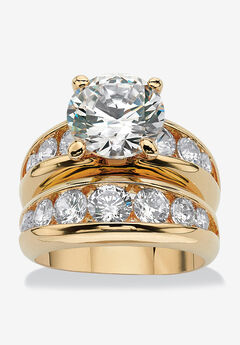 Gold-Plated Round Cubic Zirconia Bridal Ring Set,