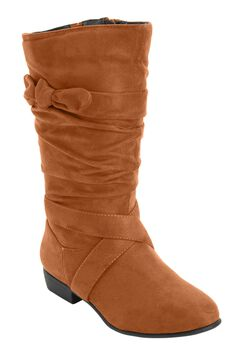 Heather Wide Calf Slouch Boots with Tie Strap by Comfortview, COGNAC, hi-res