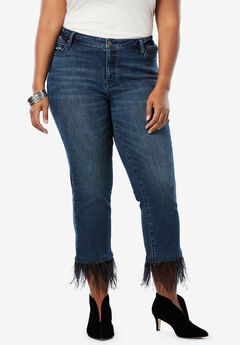 Feather Hem Cropped Jean by Denim 24/7®, INDIGO WASH