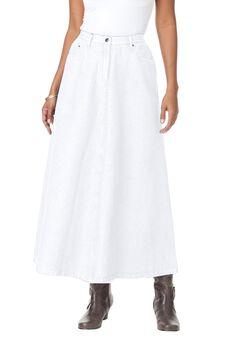 Denim A-line Skirt, WHITE, hi-res