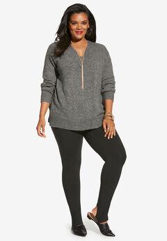 Soft Luxe V-Neck Sweater, MEDIUM HEATHER GREY