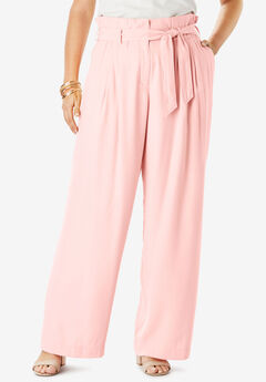 Paper-Bag Waist Pant With Wide Legs,