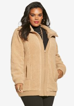 Textured Fleece Bomber Coat,
