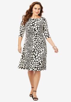 Ultrasmooth® Boatneck Swing Dress, SPOTTY ANIMAL