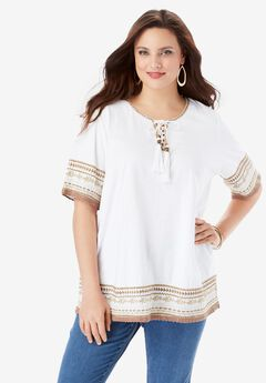 Embroidered Lace-Up Tee, WHITE