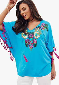 Embellished Tunic, ELECTRIC TURQUOISE, hi-res