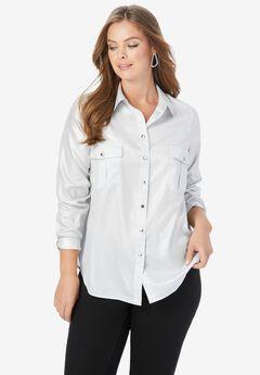 Metallic-Sheen Button-Front Shirt,