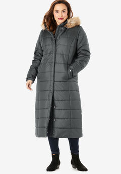 Maxi-Length Quilted Parka with Hood, SLATE