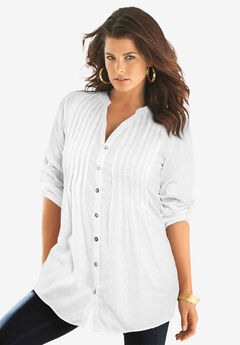 English Floral Big Shirt, WHITE