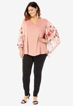 Kimono Sleeve Tunic with High-Low Hem,