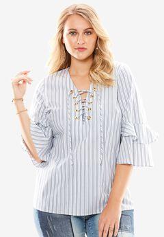 Bell Sleeve Shirt, BLUE STRIPE, hi-res