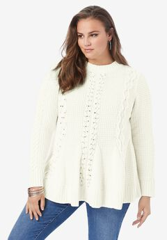 Fit-and-Flare Sweater, IVORY RHINESTONE