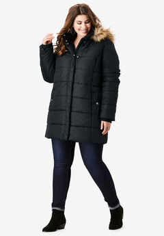 Classic-Length Quilted Parka with Hood, BLACK