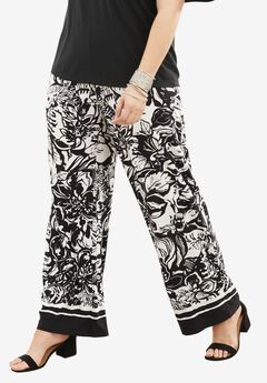 Wide Leg Pants, BORDER BLACK WHITE PRINT, hi-res