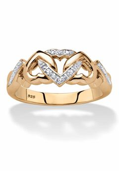 Gold & Silver Promise Ring with Diamond Accent,