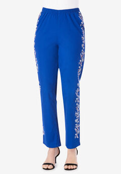 Embroidered Skinny-Leg Pull-On Stretch Jean,