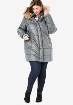 Classic-Length Quilted Parka with Hood, GUNMETAL