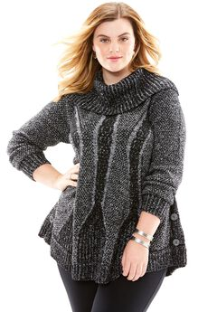 Cowl Neck Cable Pullover, BLACK WHITE, hi-res