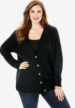 Deep V Button Cardigan, BLACK