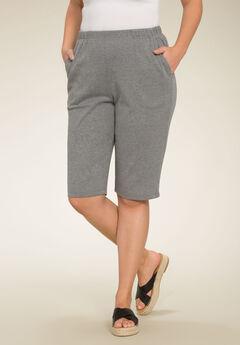 Soft Knit Bermuda Shorts, MEDIUM HEATHER GREY, hi-res