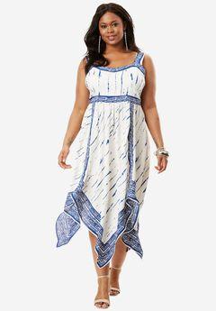 Empire Scarf-Print Dress, TIE DYE PRINT, hi-res