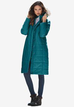 Mid-Length Puffer Jacket with Hood, DEEP LAGOON